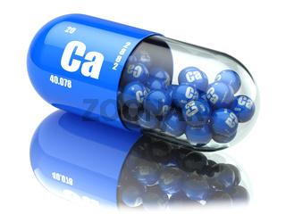 Pills with calcio CA element Dietary supplements. Vitamin capsules.