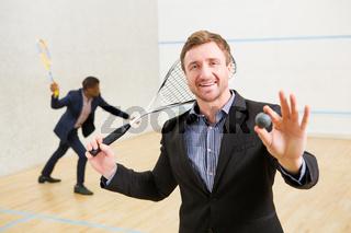 Squash businessmen players