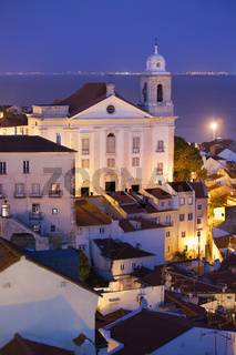 Old City of Lisbon at Night in Portugal