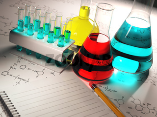 Science chemistry concept. Laboratory test tubes and flasks with colored liquids.