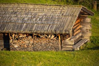 Alpine hut on alpine pasture, Alpe di Siusi, Italy