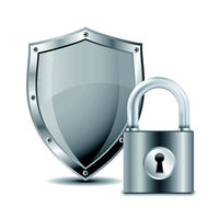 Metallic padlock and shield