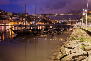Rabelo Boats On Douro River In Porto By Night