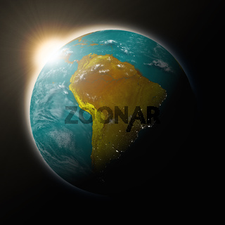 Sun over South America on blue planet Earth isolated on black background. Highly detailed planet surface. Elements of this image furnished by NASA.