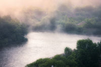 Foggy river morning