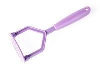 purple plastic potato masher isolated on white background