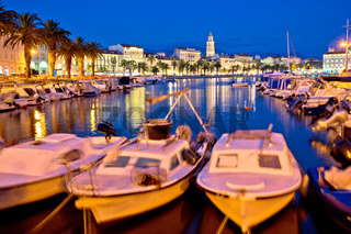 Split harbor and historic landmarks evening view