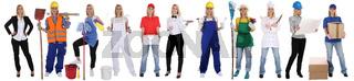 Berufe Beruf Ausbildung Business Frau Berufswahl Menschen stehen Freisteller