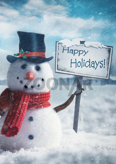 Snowman holding wooden sign