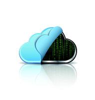 Cloud computing icon with binary code