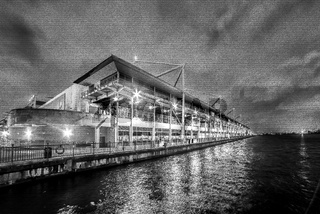 Excel Convention Centre, Royal Victoria Dock at night, Docklands, London, United Kingdom