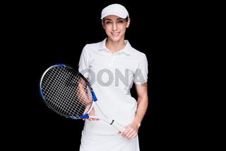 Female athlete posing with tennis racket