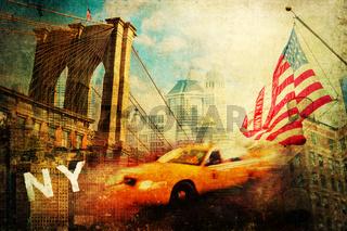 Collage im Vintage Stil mit Symbolen von New York City