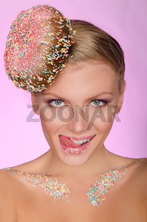 young beautiful woman with hair of doughnut