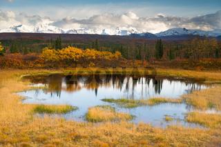 Fall Color Alpine Lake Alaska Range Mountain Peaks Autumn Season