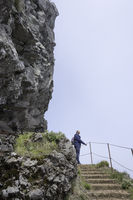 woman on the pico arieiro on madeira island