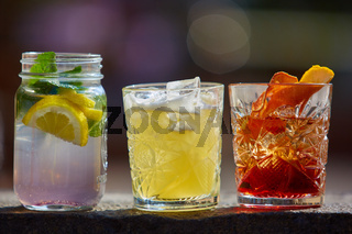 Negroni, Singapore Sling and fruit tea