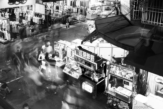 People Shopping at Fast Food Stalls Night Market, Taichung, Taiwan, Asia