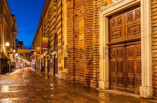Old pedestrian street in evening.