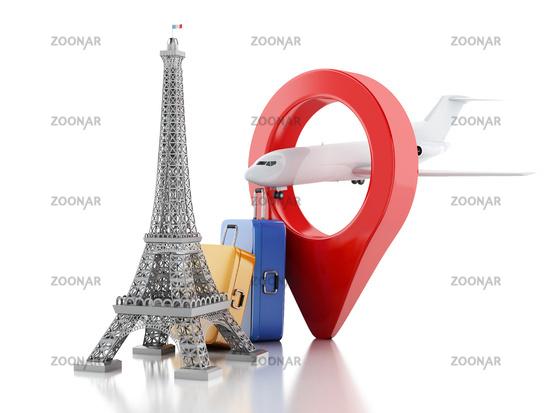 3d Eiffel tower, travel to paris concept.