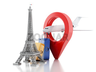 3d Eiffel tower, travel to paris concept.