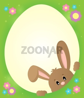 Egg shaped frame with lurking bunny 2 - picture illustration.