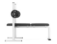gym flat weight bench with barbell isolated
