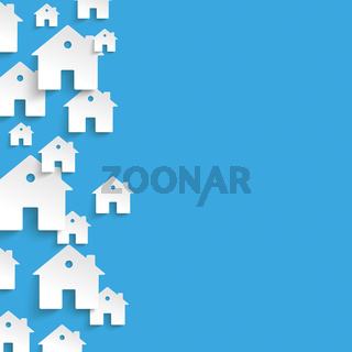 White Paper Houses Side Blue Background PiAd