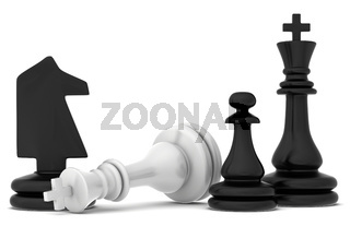 The fallen chess piece lying on a white background