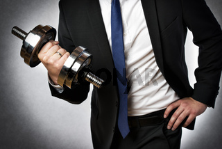 businessman with dumbbell