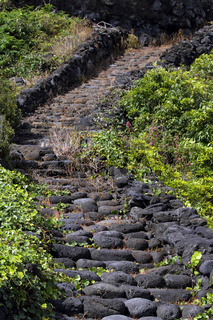 Basalt stone stairs on Pico island, Azores