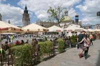 Sidewalk cafe in Krakow Poland