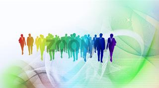 menschen business futuristisch bunt