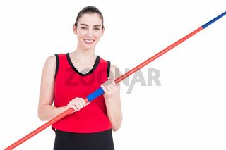 Female athlete holding a javelin
