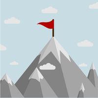 Mountain with flag