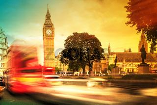 Buses passing Big Ben, Westminster, London, UK, United Kingdom