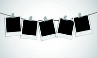 Instant photo frame with bulldog clip