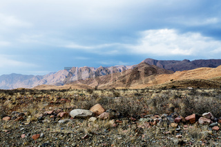 panorama of fantastic Namibia moonscape landscape