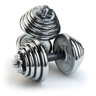 Dumbbell weight isolated on white. Chrome fitness equipment.