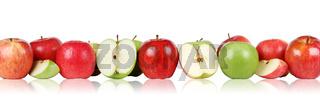Apfel Früchte Äpfel in einer Reihe Freisteller