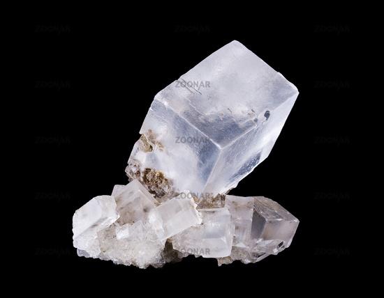 Rock Salt Crystal Cluster Front View on Black Background