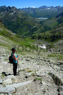 Silvretta-Stausee an der Silvretta Hochalpenstrasse, Vermunt, Vorarlberg, Oesterreich,