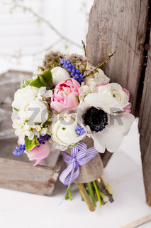 Beautifull spring bouquet in rustic style