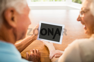 Rear view of senior couple using tablet