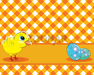 Vector Chicken and painted eggs on a checkered background. Easter