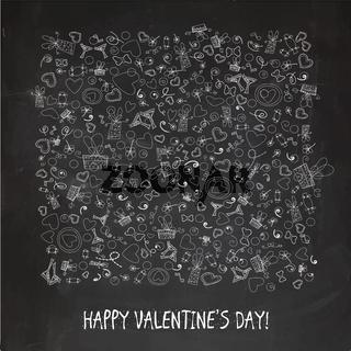 Happy Valentine#39;s Day Sketch chalk lettering on blackboard background. Vintage.