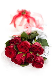 Red roses and gift.