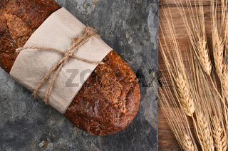 Multi-Grain Bread and Wheat Stalks