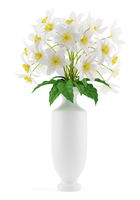 flowers in vase isolated on white background. 3d illustration