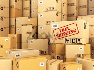 Free shipping or delivery. Cardboard boxes background.